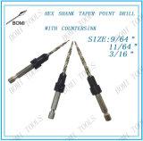 Avellanadores y taladros de la punta de la forma cónica del HSS que corresponden con, conjunto de 3