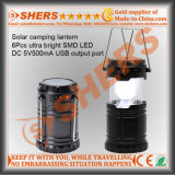 Telescópica solar 6 SMD LED Linterna camping salida USB con energía solar