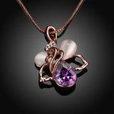 De mooie Halsband van de Tegenhanger van het Kristal van de Vorm van de Bij van het Ontwerp Purpere nam de Goud Geplateerde Hete Juwelen van de Verkoop toe