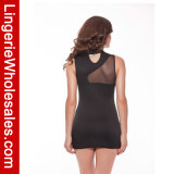 Alineada corta sin mangas impresa negro atractivo de las mujeres