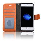 C&T PUの革札入れの箱ファブリック様式のAppleのiPhone 7のためのカードスロットが付いている磁気閉鎖の立場のホールダーフリップカバー