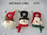 Allumer Noël Decoraiton Doorknob-3asst de Santa et de bonhomme de neige