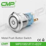 Interruptor de pulsador ligero impermeable del CMP 19m m con símbolo de la potencia
