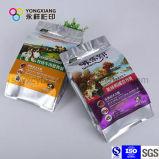 Empaquetage en plastique personnalisé par couleur d'aliment pour animaux familiers avec le zip-lock pour le crabot