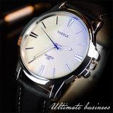 Reloj de los hombres de la correa de cuero del reloj del asunto de manera de H332 Yazole