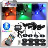 6개의 깍지 장비 12 깍지 장비 소형 LED 바위 빛을 바꾸는 색깔을%s 도로 바위 빛 Bluetooth 통제 떨어져 4개의 깍지 장비 8 깍지 장비가 RGB LED 바위에 의하여 점화한다