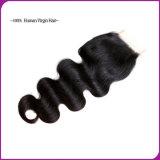 Brasilianisches Spitze-Band-frontales Schliessen-Haar des Jungfrau-Menschen-360