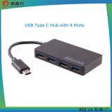 4つのポートが付いているタイプC USB 3.0のハブ