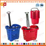 Cesta portátil plástica personalizada colorida da compra do supermercado com rodas (Zhb100)