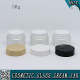 30ml Cosmetic Cream Jar Frosted Glass with Plastic Cap