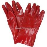 Guanti chimici rossi della mano di sicurezza resistente del petrolio e del gas del PVC