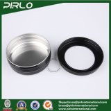100g 3.3oz kosmetische Sahneverpackungs-Aluminiumpotentiometer-Haut-Sorgfalt-Sahne-Haar-Wachs-Gebrauch-Schwarz-Farben-Aluminiumglas mit Fenster-Schutzkappe