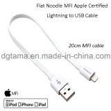 USB 케이블 - 백색에 Apple에 의하여 증명되는 번개를 위한 편평한 국수 Mfi