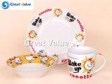 3PCS de leuke Reeks van het Ontbijt van de Jonge geitjes van het Porselein van het Ontwerp