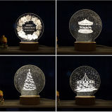 Luz de la noche de la aduana 3D LED de la decoración del regalo de Chiristmas