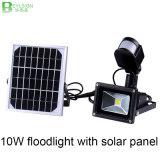 PIRの動きセンサーが付いている10W屋外の太陽LEDのフラッドライト