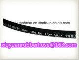 A única trança da fibra (não metálica), borracha cobriu a mangueira hidráulica SAE100r6
