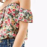 어깨 떨어져 인쇄된 형식 여자 시퐁 꽃은 t-셔츠 블라우스를 입는다