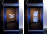 32 pulgadas escaparate olográfico de 180 grados, rectángulo del holograma para hacer publicidad de la visualización, posición