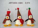 """金属のそり、3 Asst-を持つ5.5 """" Hx4 """" Lchristmasの装飾のペンギン"""