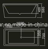 STAZIONE TERMALE indipendente della vasca da bagno di rettangolo piacevole di 1500mm per il progetto (AT-027)