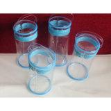 De duurzame Duidelijke Zak van de Ritssluiting van de Cilinder van pvc met Handvat