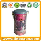 Latta di caffè rotonda dello stagno con il coperchio chiuso ermeticamente, contenitore di stagno del caffè