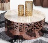 Table basse d'acier inoxydable d'or de Rose avec le dessus de marbre
