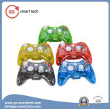 Doble vibración inalámbrica transparente Flash Game Controller para xBox 360