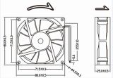 2pin Brushless gelijkstroom Ventilator 80X80X25mm van het Kogellager 12V 24V