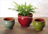 La couleur a glacé des planteurs de pot d'argile de terre cuite réglés (GW1740)