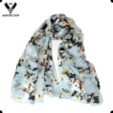 Бабочка печатание высокого качества и шарф цветка чисто Silk для женщин