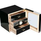 100-150 조사는 광택 피아노 완료 삼목에 의하여 일렬로 세워진 여송연 내각 담배 저장 상자 3 서랍을 검게 한다