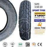 Neumático sin tubo del neumático 3.50-10 de la motocicleta del neumático de la motocicleta de la moto del neumático de la vespa