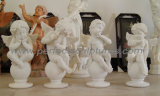 Высекающ статую каменного ангела младенца скульптуры херувима маленького мраморный (SY-X004)