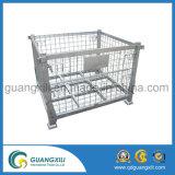 Resíduos galvanizados Recipiente empilhável de rede de metal rígido e de carga rígida com 4 rodas
