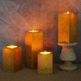 لون ذهبيّة معدنيّة مربّعة عديم لهب [لد] عمود شمعة مع جهاز تحكّم عن بعد