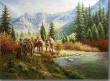 油絵の湖の馬
