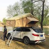 開いた4WD綿のキャンバスファブリック折る車の屋根の上のテントは絶食する