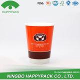 Nueva taza doble del papel de empapelar de Happypack con la tapa y la insignia modificada para requisitos particulares