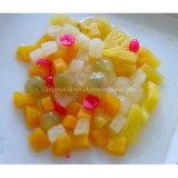 Salade de fruits de macédoine de fruits en étain, choc, emballage en plastique de cuvette