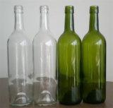 Forma redondo de 750 ml verde de la botella de vino de Burdeos de cristal