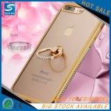 Suporte do anel do Rhinestone que galvaniza a caixa macia do espelho TPU para o caso de Kickstand do iPhone 7