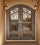 Puertas de entrada artísticas de lujo de doble del hierro labrado para la casa