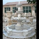 Fontana bianca di Carrara con le coperture per la decorazione domestica Mf-114