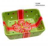 크리스마스를 위한 세라믹 사탕 접시