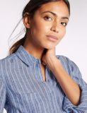 Рубашка втулки причинного чисто полотна Striped длинняя