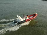 bateau gonflable de côte de 22.3feet 6.8m, bateau de Rescure, bateau de pêche, bateau rigide de coque, PVC et Hypalon