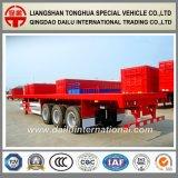 Tres acoplado del transporte de contenedores del plano 40FT de los árboles semi
