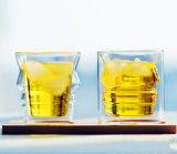 Cuvette en verre en verre de mur de double de whiskey de cuvette de couples créateurs